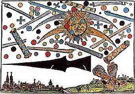 Woodcut showing alien air battle in 1561