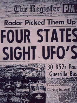 Newspaper Headline: UFOs Seen