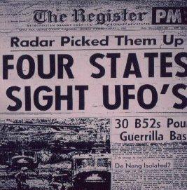 Newspaper Headline: UFOs Seen