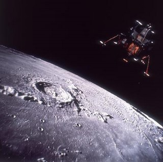 Lunar Lander approaching the moon