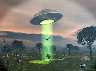 Alien Spacecraft beam up cattle
