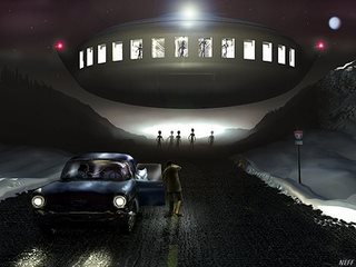Barney Hill sees aliens in flying saucer