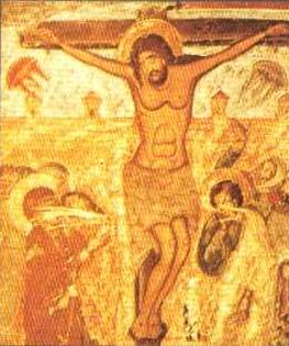 Ancient art depicting Christ on the cross