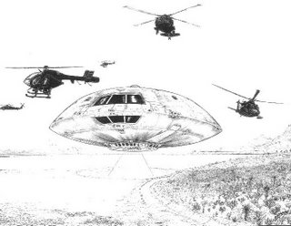 Covert Black Helicopters seen with Flying Saucers