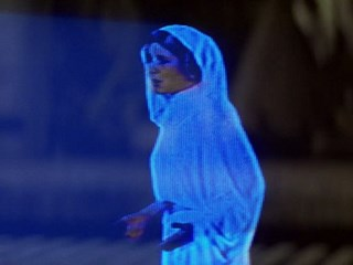 Hologram of Princess Leia from 'Star Wars'.
