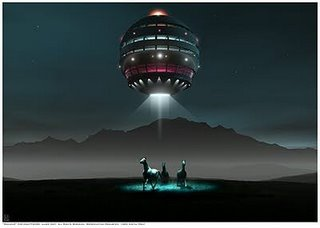 Aliens beam up horses fro field