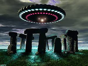 Flying Saucer hovering over Stonhenge