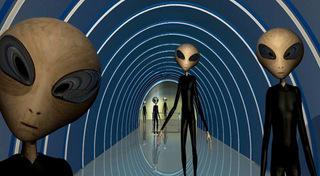 alien beings waiting on spacecraft