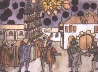 Artwork depicting alien battle in 1561