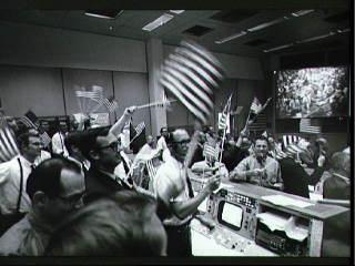 Mission Control celebrates moon landing