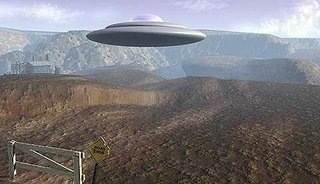 Flying Saucer Hovers Over Desert
