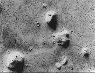 Face on Mars and surrounding structures