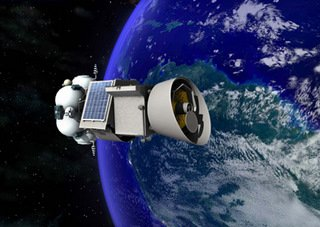 Space probe circling earth