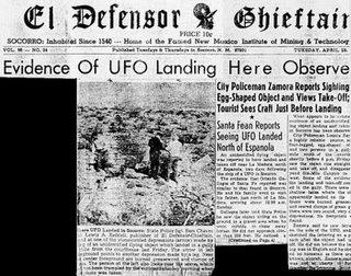 Headline of Lonnie Zamora alien craft